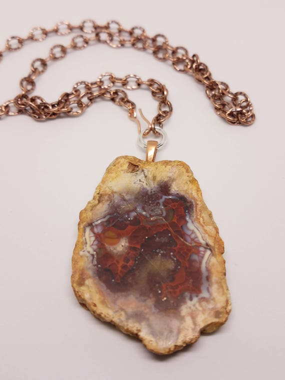 Fire Agate on Natural Copper Chain
