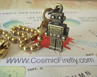 Tiny Robot Fan Pull Chain Steampunk Fan Pull Antiqued Brass Robot Ceiling Fan Pull Miniature Robot Boy's Room Decor Boy's Fan Pull