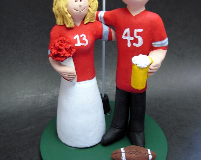Ohio State Football Wedding Cake Topper, Ohio State Wedding Anniversary Gift/Cake Topper, NFL Football Wedding Cake Topper, NCAA Cake topper