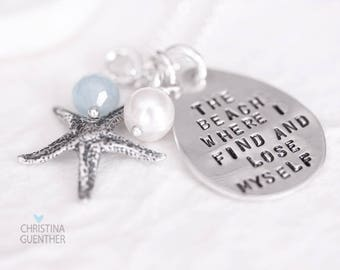 The Beach Where I Find and Lose Myself, The Ocean Starfish - Personalized Hand Stamped Jewelry - Custom Name Initial Word Christina Guenther