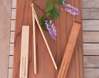 Salad tong, salad server, one hand salad server, hinged tongs, wood tongs, cherry, maple, handmade