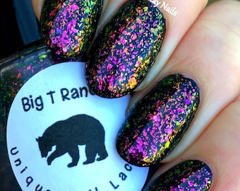 Multichrome Flakie Topcoat - Lake Geneva - Multi-Color Shifting Polish:Custom-Blended Glitter Nail Polish/Indie Lacquer