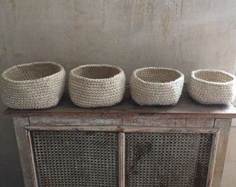 Antique white nested set handmade baskets