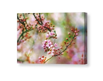 Flower Canvas, Large Canvas Art, Pink and Green Decor, Spring Flowers, Apple Blossoms, Colorful Wall Art, Spring Decor, Flower Decor