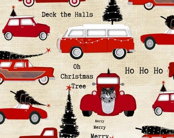 Around Town Christmas by Studio E - Cars on Cream - Cotton Woven Fabric