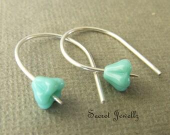 Turquoise Sterling Silver Earrings, Handmade Ear Wires, Botanical Earrings, Dangle Earrings, Nature Inspired Jewelry