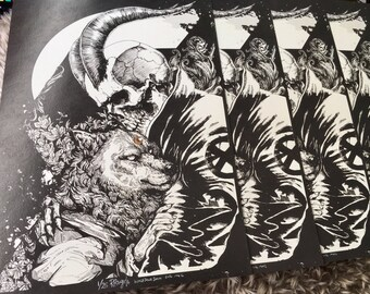 Skull Boy and the Wolf Print