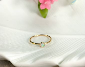 4 mm Gold Fill Opal Ring - Size 6.5