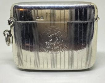 Art Deco Edwardian Silver Vesta match case hallmarked 1919