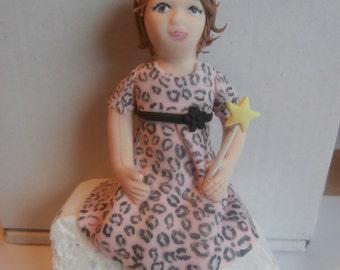 Edible sugar paste little girl, birthday,christening cake topper, decoration,