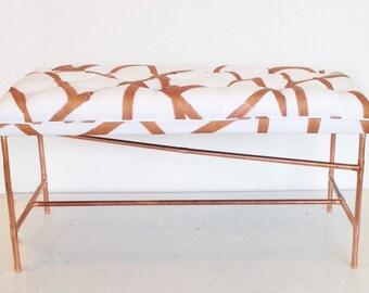 Tufted metallic ottoman bench - copper ottoman bench - handpainted ottoman bench