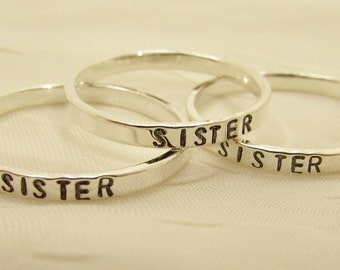 Personalized Sterling Silver Stacker Ring 2 mm Custom Hand Stamped Mommy Ring Graduation Anniversary Big Sis Mid Sis Lil Sis Posey Ring