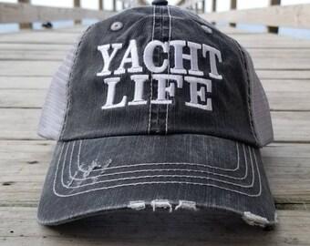 Yacht Life, low profile distressed black cap