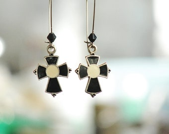 Black Cross Earrings - Enamel  Black and White