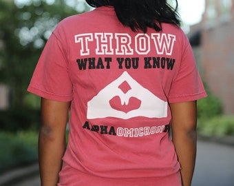 Alpha Omicron Pi Throw What You Know Comfort Colors Short Sleeve and Long Sleeve Tshirt - AOPi Tshirt - AOII Tshirt