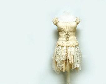 Steampunk Wedding Dress Peasant Dress Off Shoulder Dress Tattered Lace Dress Gypsy Style Dress Shabby Renaissance Dress Upcycled Clothing