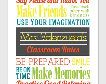 Classroom Rules - Personalized Print