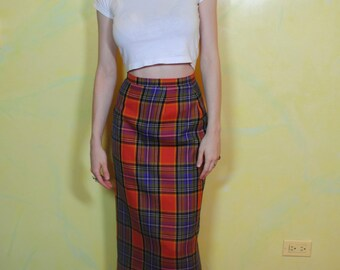 1990s Colorful Wool Plaid Pencil Skirt
