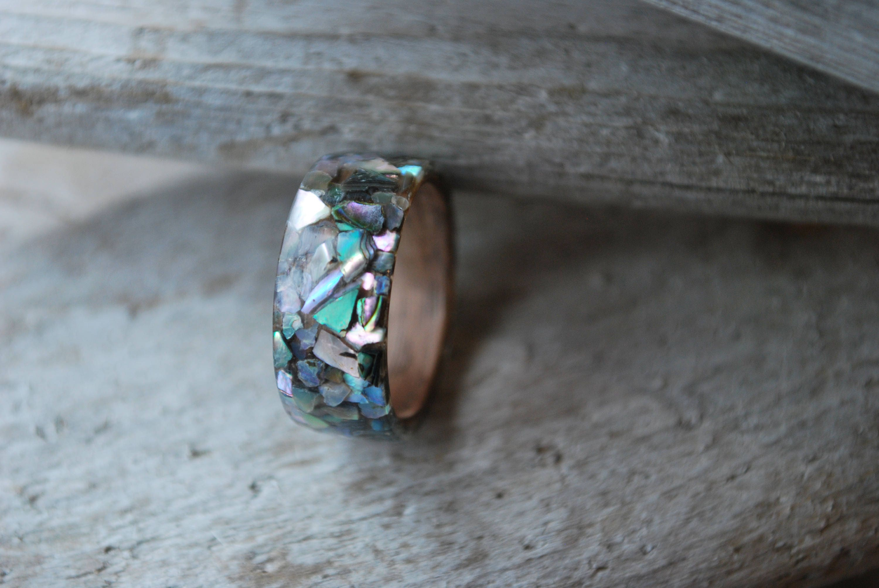 inlay thin ring devocean jewelry shell products rings koa abalone co wood wedding