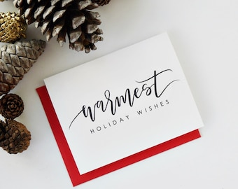 Holiday Card / Warmest Holiday Wishes Card / Christmas Card / Hand Lettered Card / A2 / Blank / Charitable Donation
