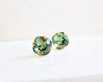 Erinite green crystal stud earrings - square stud earrings - Swarovski crystal - crystal earrings - crystal studs - green crystal