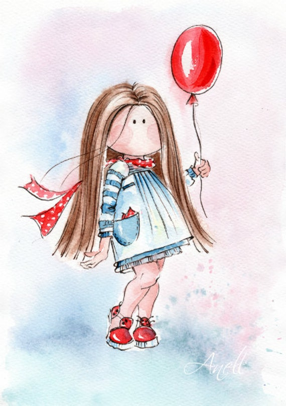 Watercolor Print Little Light Brown Haired Girl With Balloon