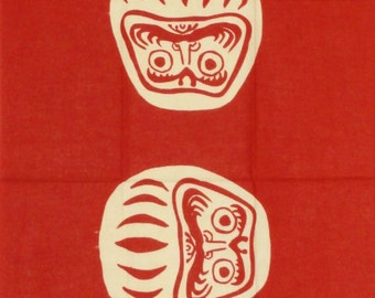 Tenugui Japanese Fabric 'Red Daruma' Daruma Doll Motif w/Free Insured Shipping