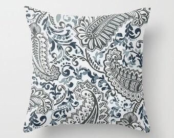 Navy Blue Pillow cover Beachy Pillow Cover Decorative Pillow Cover Nautical Pillow Ocean Pillow Paisley Pillow Lakehouse Pillow