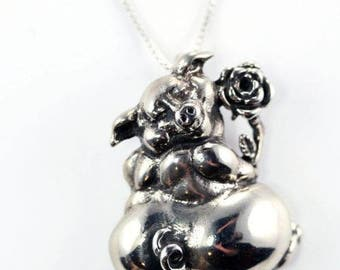 Sterling Silver Pig With Flower Pendant
