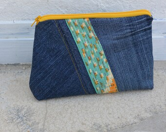 Makeup bag, cosmetic clutch, pouch, pencil case, travel bag jeans denim, yellow and green ethnic - recycled