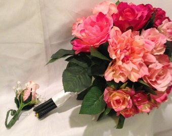 Pink Silk Elegance bouquet and matching boutonniere.