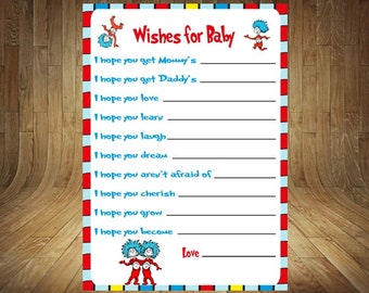 Thing 1 Thing 2 Wishes for Baby, Thing 1 Thing 2 Baby Shower Game,  Thing 1 Thing 2 Baby Shower, Wishes for Baby, Thing 1 Thing 2