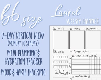 B6 Laurel - Well-Rounded Weekly Vertical Traveller's Notebook Insert, Printable TN, Traveler's Notebook, Habit Tracker, Meal Planner