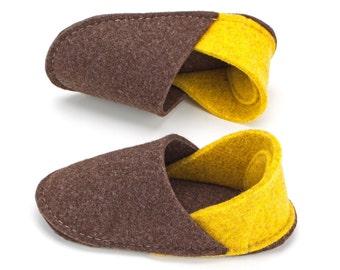 soft sole baby shoes - boys slippers - infant boy shoes - infant shoes for boys - slippers for toddlers - kids slippers - wool felt handmade
