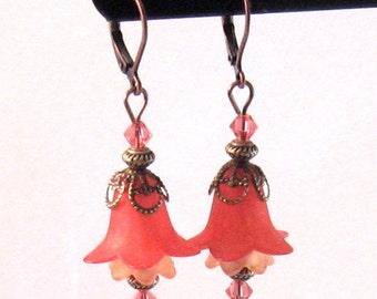 "Coral & Peach ""Fairy"" Flower, Swarovksi Crystal and Pearl Earrings, Coral Jewelry, Flower Jewelry, Peach Jewelry, Fall Jewelry, Fall Fashion"