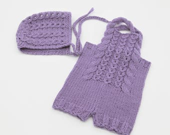 Newborn knitted overalls and bonnet | Purple photo props |  Knitted bonnet | Knitted overalls | Knitted set | Purple knitted set