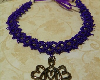 Purple tatted choker with pendant