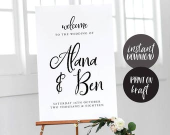 Welcome Sign INSTANT DOWNLOAD Editable PDF, Welcome to Our Wedding Sign, Wedding Welcome Sign - Juliette