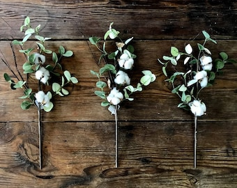 """Cotton with Greenery Spray Floral Stem on Wired Pick - 18"""" - Set of Three"""