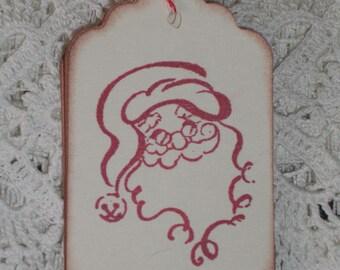 Christmas Gift Tags -  Santa Smiling Gift Tags - Christmas - Set of Six