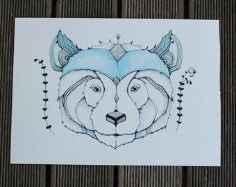 ORIGINAL Gentle Bear l Watercolour, Pencil and Ink Painting