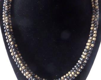 Gold and Black Herringbone Beaded Necklace