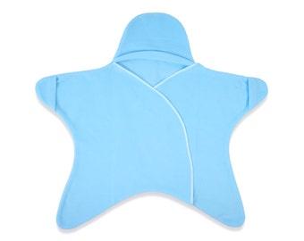 Star Baby Fleece Car Seat Blanket - Lilac (newborn baby blanket, car seat swaddle blanket, baby blanket, toddler blanket, hooded blanket)