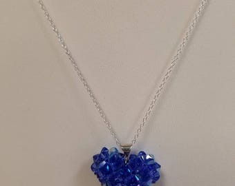 4mm Swarovski Crystal Puffy Heart Pendant in Sapphire AB with Sterling Silver findings