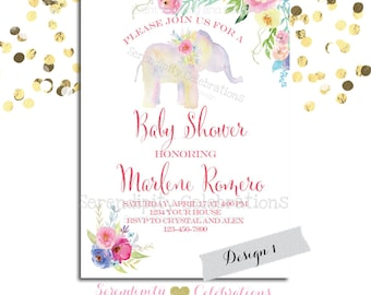 Elephant Baby Shower Invite, It's a Girl Invitation, Watercolor Elephant Invitation, Watercolor flowers invite, Birthday Invitation, Bridal