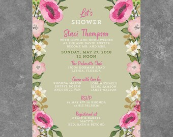 Watercolor flower border BRIDAL SHOWER invite printable
