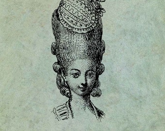 18th Century Lady With Ornate Hairstyle - Antique Style Clear Stamp