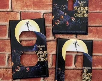 Nightmare Before Christmas Movie Poster Jack Skellington light switch cover room decor Disney
