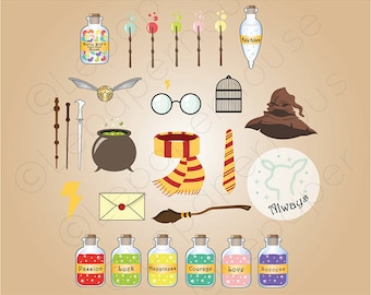Cute Harry Potter theme clipart, digital scrapbooking elements - 27 Clip art, Instant Download