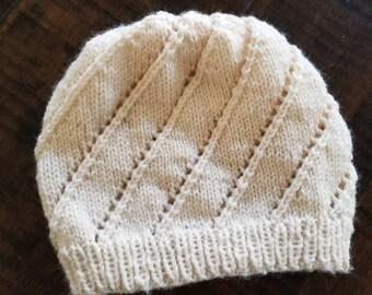 Handknit Spiral Slouch Hat
